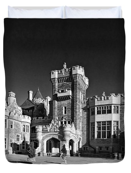 Casa Loma In Toronto In Black And White Duvet Cover