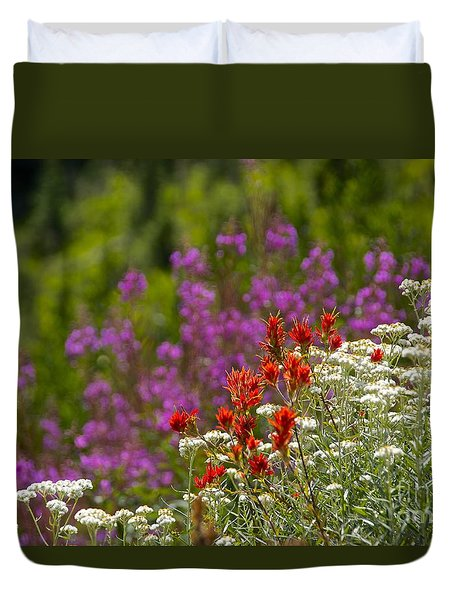 Cascade Wildflowers Duvet Cover by Sean Griffin