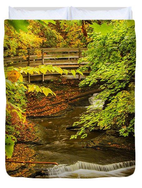 Cascadilla Gorge Cornell University Duvet Cover