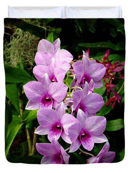 Cascading Lilac Orchids Duvet Cover