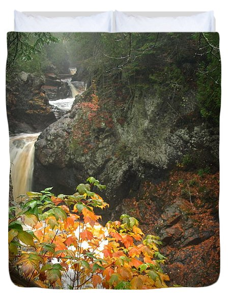 Duvet Cover featuring the photograph Cascading Steps by James Peterson