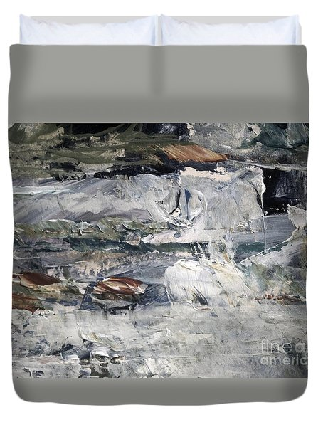 Duvet Cover featuring the painting Cascading Water by Nancy Kane Chapman