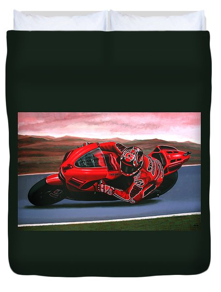 Casey Stoner On Ducati Duvet Cover