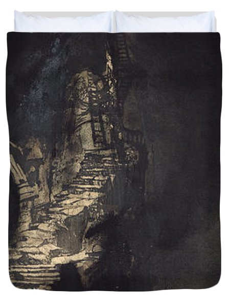 Casquets Lighthouse Duvet Cover by Victor Hugo