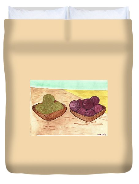 Duvet Cover featuring the painting Castaway Fruit by Tracey Williams