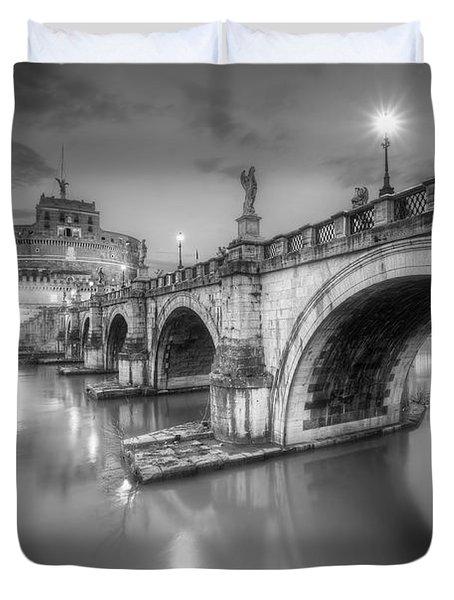 Castel Sant' Angelo Bw Duvet Cover