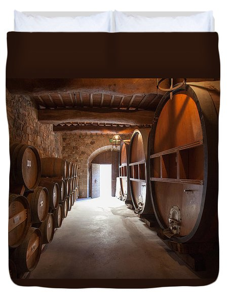 Castelle Di Amorosa Barrel Room Duvet Cover by Scott Campbell