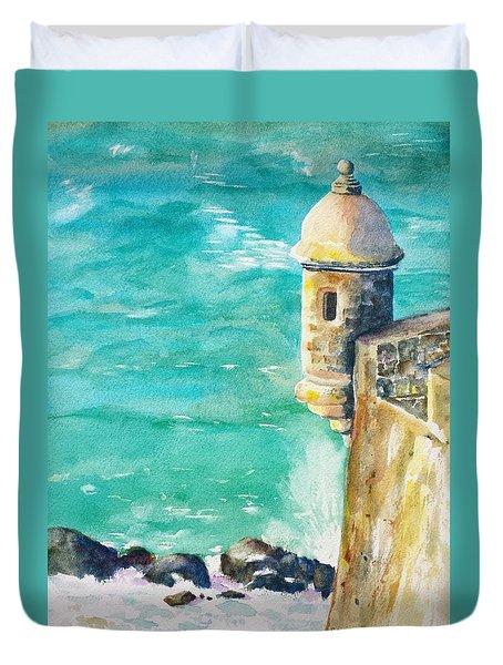 Castillo De San Cristobal Ocean Sentry  Duvet Cover by Carlin Blahnik