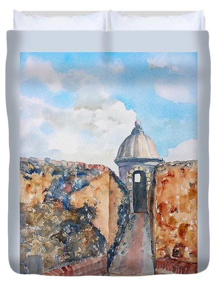 Castillo De San Cristobal Sentry Door Duvet Cover by Carlin Blahnik