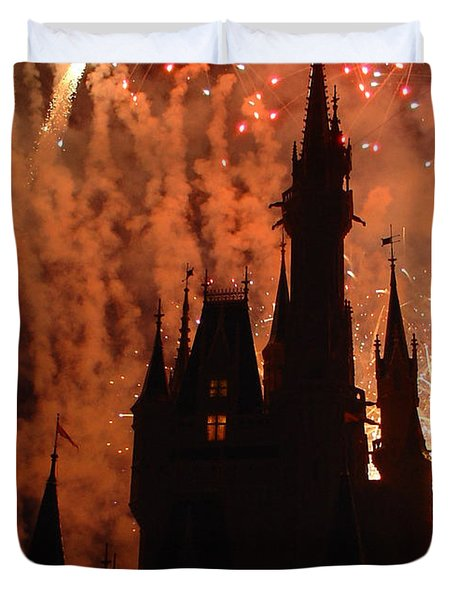 Duvet Cover featuring the photograph Castle Fire Show by David Nicholls