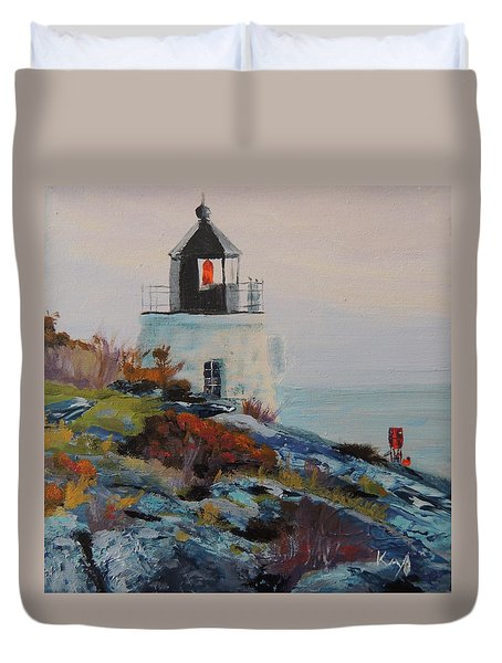 Castle Hill Lighthouse Newport Ri Duvet Cover by Patty Kay Hall