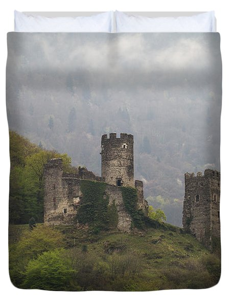 Castle In The Mountains. Duvet Cover