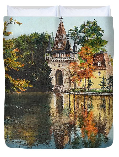 Duvet Cover featuring the painting Castle On The Water by Mary Ellen Anderson