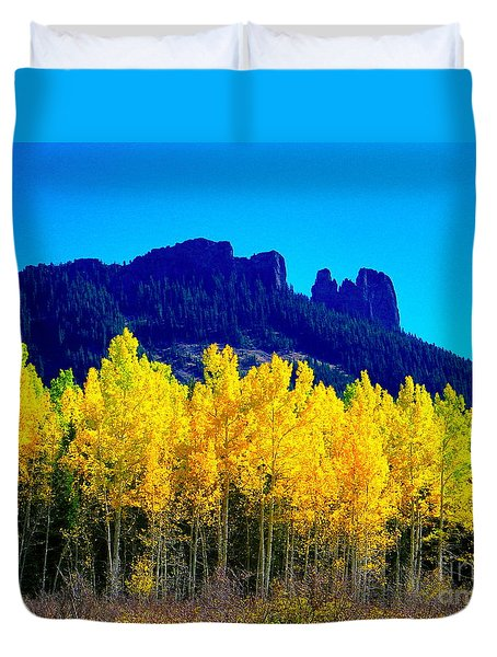 Autumn Castle Rock Aspens Duvet Cover