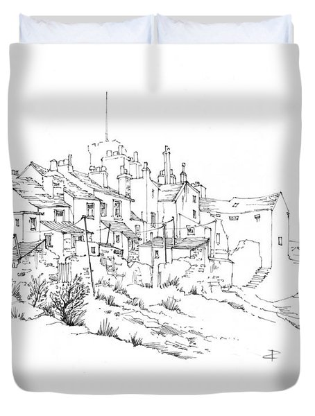 Duvet Cover featuring the drawing Castletown Coastal Houses by Paul Davenport