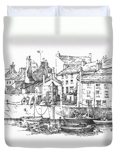 Duvet Cover featuring the drawing Castletown Harbour by Paul Davenport