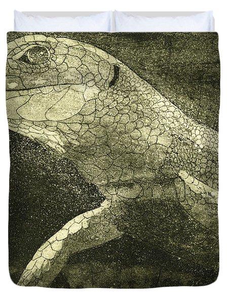 casual meeting Reptile Viviparous Lizard  Lacerta vivipara Duvet Cover