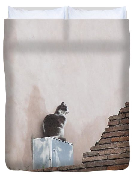 Duvet Cover featuring the photograph Cat Above The Roman Ruins by Tiffany Erdman