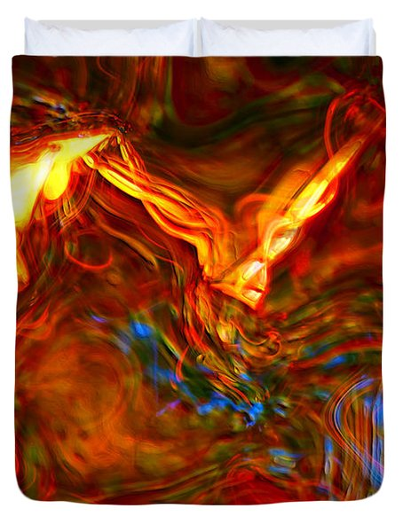 Duvet Cover featuring the digital art Cat And Caduceus In The Matmos by Richard Thomas