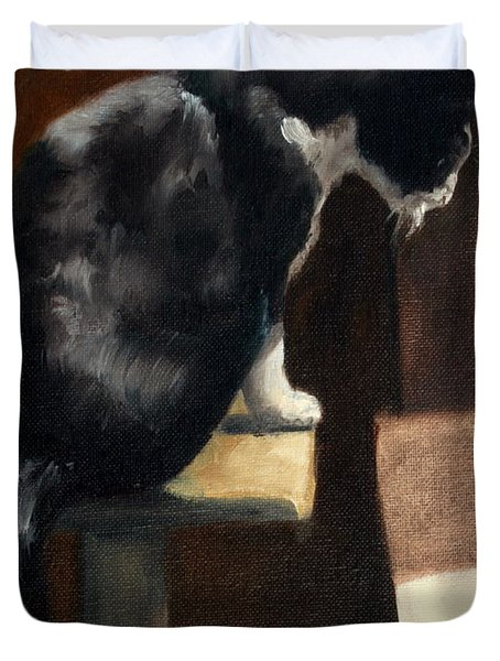 Cat At A Window With A View Duvet Cover by Lisa Phillips Owens