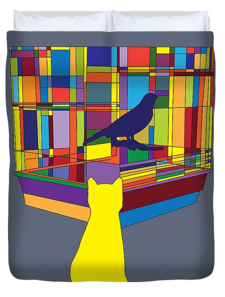 Duvet Cover featuring the digital art Cat Bird Pop by Megan Dirsa-DuBois