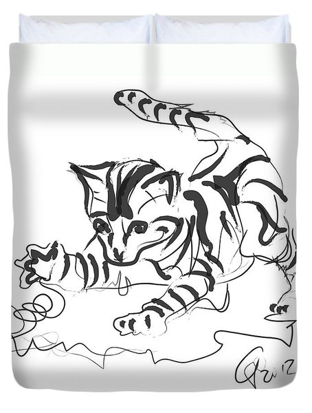 Cat- Cute Kitty  Duvet Cover by Go Van Kampen