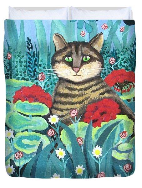 Cat Hiding In The Rainforest Duvet Cover