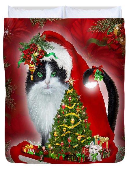 Cat In Long Santa Hat Duvet Cover by Carol Cavalaris