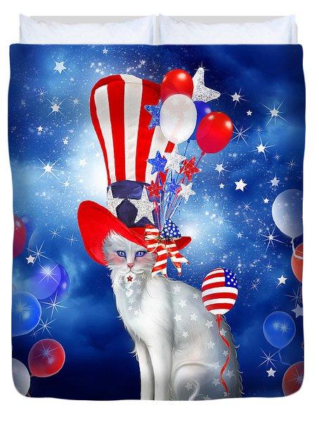Cat In Patriotic Hat Duvet Cover by Carol Cavalaris