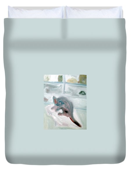 Cat In The Garage On A Mat Duvet Cover