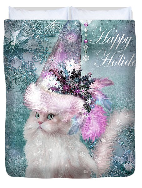 Duvet Cover featuring the mixed media Cat In The Snowflake Santa Hat by Carol Cavalaris