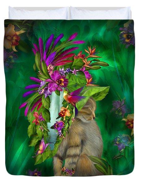 Cat In Tropical Dreams Hat Duvet Cover by Carol Cavalaris