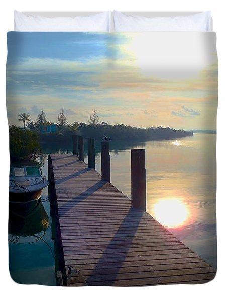 Cat Island Dock Duvet Cover by Carey Chen