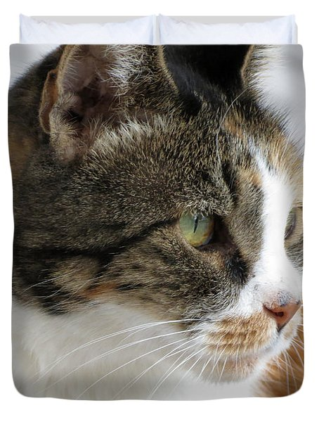 Duvet Cover featuring the photograph Cat by Laurel Powell