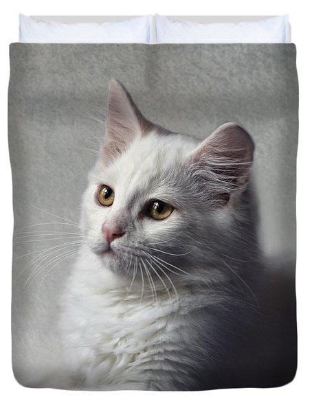 Cat On Texture - 02 Duvet Cover