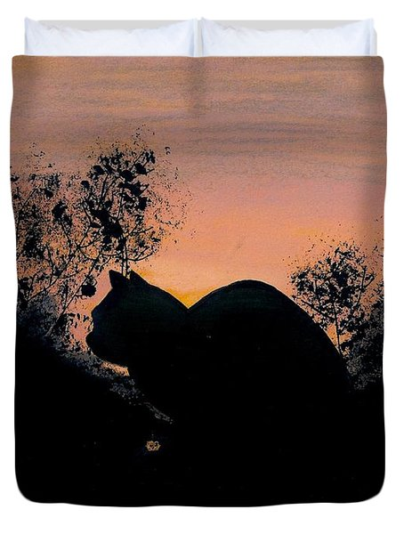 Duvet Cover featuring the drawing Cat - Orange - Silhouette by D Hackett
