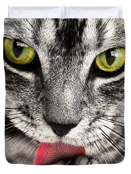 Duvet Cover featuring the photograph Cat by Paul Fearn