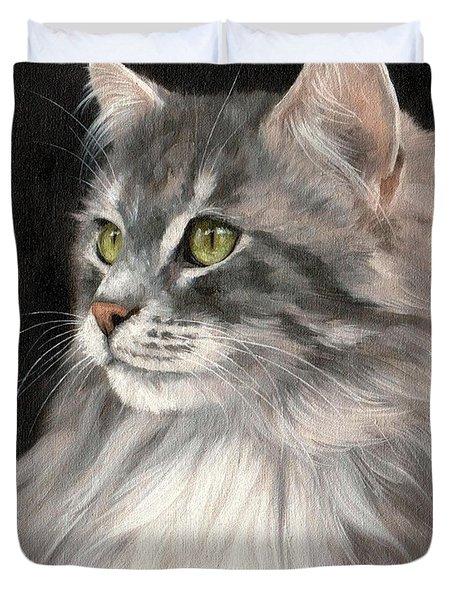 Cat Portrait Painting Duvet Cover by Rachel Stribbling