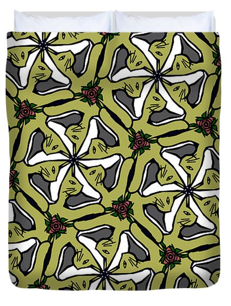 Duvet Cover featuring the photograph Cat /shoe /rose #2 by Elizabeth McTaggart