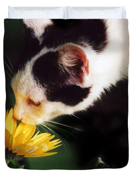 Cat Smelling Flower Duvet Cover