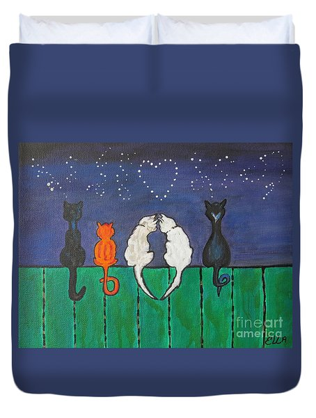 Duvet Cover featuring the painting Cat Tails by Ella Kaye Dickey