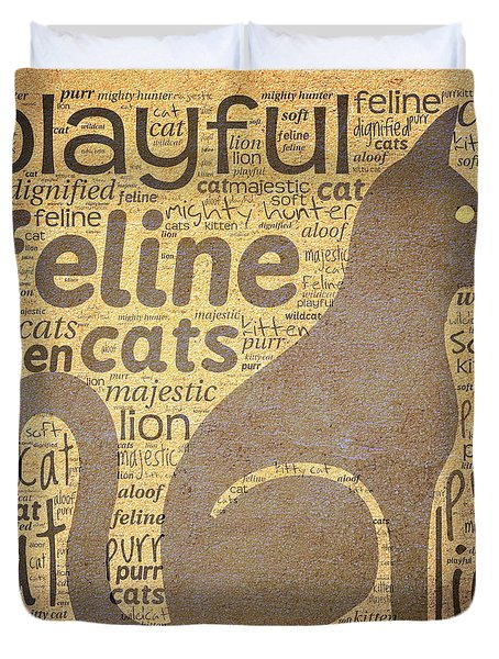 Cat Typography Duvet Cover