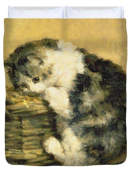 Cat With A Basket Duvet Cover by Charles Van Den Eycken