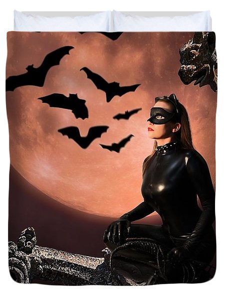 Cat Vs Bat Duvet Cover