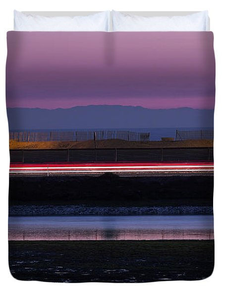 Catalina Bolsa Chica Pch Light Trails And The Wetlands By Denise Dube Duvet Cover