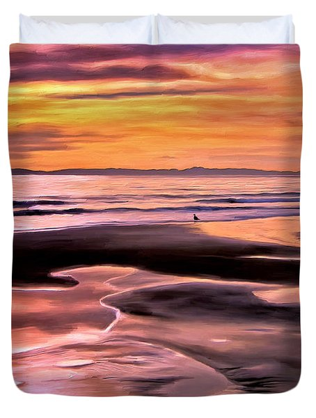 Duvet Cover featuring the painting Catalina Sunset by Michael Pickett