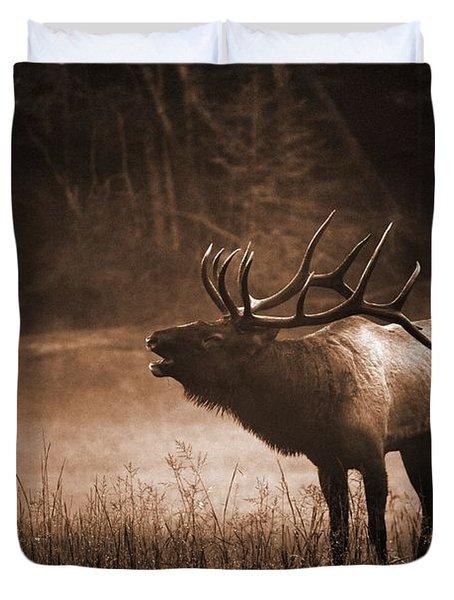 Cataloochee Bull Elk In Sepia Duvet Cover