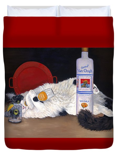 Duvet Cover featuring the painting Catatonic by Karen Zuk Rosenblatt
