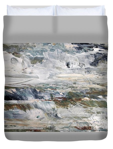 Duvet Cover featuring the painting Catch The Spray by Nancy Kane Chapman