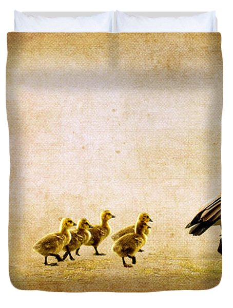 Duvet Cover featuring the photograph Catch Up Little Gosling by Lisa Knechtel